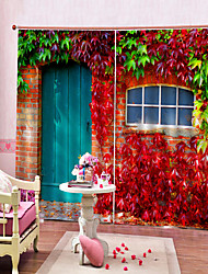 cheap -Pretty Pastoral Turkish Blackout Polyester Curtain Fabric Heat / Sound Insulation Curtains for Dedroom / Living Room