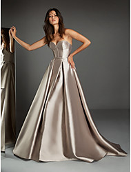 cheap -A-Line Sweetheart Neckline Sweep / Brush Train Satin Open Back Formal Evening Dress with 2020