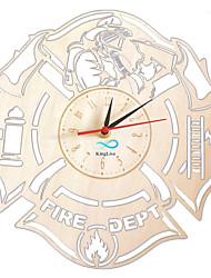 abordables -pompiers horloge murale en bois décor proffessional marchandise vie feu servise profession maison oeuvre horloge murale