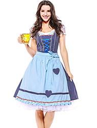 Недорогие -Октоберфест Широкая юбка в сборку Trachtenkleider Жен. Платье баварский Костюм Небесно-голубой