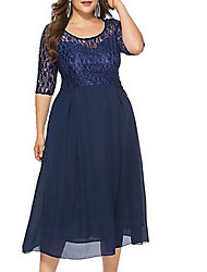 cheap -Women's Plus Size Navy Blue Dress Basic Sheath Solid Colored Lace XL XXL