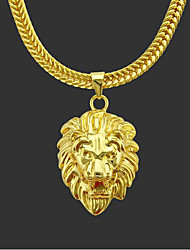 cheap -Men's Pendant Necklace Chain Necklace Long Necklace Classic Lion Punk Rock Copper Gold Plated Gold 76 cm Necklace Jewelry 1pc For Daily Street