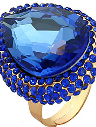 cheap -Women's Adjustable Ring 1pc Dark Blue Gemstone & Crystal Alloy Oval Luxury Party Club Jewelry