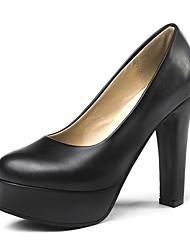 cheap -Women's Heels Chunky Heel PU(Polyurethane) Fall / Spring & Summer Black / Beige / Party & Evening