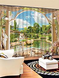 Недорогие -3d цифровая печать декорации уединение полиэстер две панели занавес для спальни гостиной водонепроницаемый пыленепроницаемый декоративные шторы