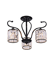 cheap -3-Light American Crystal Chandeliers Indoor Deco Light Pendant Lamp 3 Lights Bedroom Hallway Ceiling Light Semi Flush Black