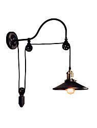 cheap -Iron Wall Lamp Adjustable Pulley Sconce Black Industrial Deco Light Wall Mount for Bar Corridor Metal
