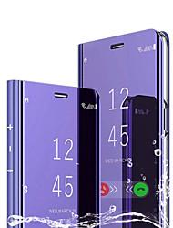 Недорогие -Кейс для Назначение Huawei Huawei P Smart 2019 со стендом / Покрытие / Зеркальная поверхность Чехол Однотонный Твердый Кожа PU / ПК