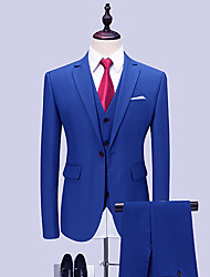 cheap -Tuxedos Standard Fit Notch Single Breasted One-button Polyester / Cotton Blend Solid Colored