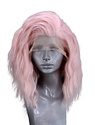 cheap -Synthetic Lace Front Wig Wavy Side Part Lace Front Wig Short Pink Synthetic Hair 10-14 inch Women's Adjustable Heat Resistant Party Pink