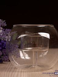 cheap -Crystal-like Glass Round Double Layer Candle Holder Romantic Candlestick Home Cafe Wedding Candlelight Dinner Decoration