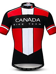 cheap -21Grams Men's Short Sleeve Cycling Jersey Rough Black Canada National Flag Bike Jersey Top Mountain Bike MTB Road Bike Cycling Breathable Moisture Wicking Quick Dry Sports Polyester Elastane Terylene