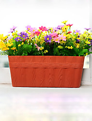 cheap -Stylish Tree Grain Rectangle Flowerpot with Water Barrie Balcony Plant Pot Home Office Decoration