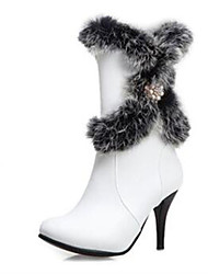 cheap -Women's Boots Stiletto Heel Round Toe PU(Polyurethane) Mid-Calf Boots Fall & Winter White / Black