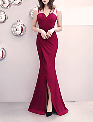 cheap -Mermaid / Trumpet Spaghetti Strap Sweep / Brush Train Satin Sexy / Elegant & Luxurious Formal Evening Dress with Split Front 2020