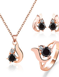 cheap -Women's Black Necklace Earrings Ring Classic Drop Simple Trendy Korean Sweet Imitation Diamond Earrings Jewelry Gold For Party Gift Daily 1 set