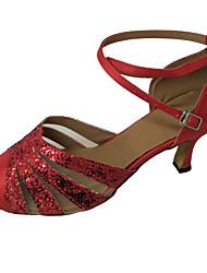 cheap -Women's Modern Shoes / Ballroom Shoes Satin Heel Sparkling Glitter Flared Heel Customizable Dance Shoes Black / Fuchsia / Red