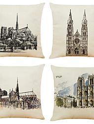 cheap -Set of 4 Notre Dame De Paris Linen Square Decorative Throw Pillow Cases Sofa Cushion Covers 18x18