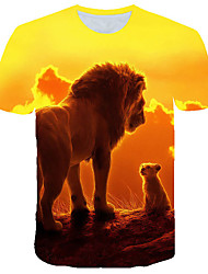 cheap -Men's Street Casual / Daily Basic / Exaggerated Plus Size T-shirt - 3D / Graphic / Animal Print Round Neck Yellow / Short Sleeve