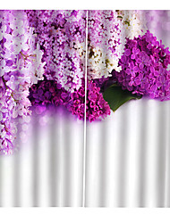 cheap -Lovely Purple Lilac Printed Decorative Window Curtains Blackout 100% Polyester Fabric for Living Room / Bedroom