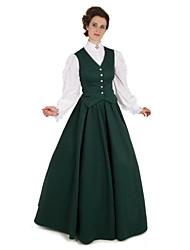 cheap -Duchess Cerridwen Goddess Victorian 1910s Edwardian Dress Party Costume Women's Feather Costume Green Vintage Cosplay Daily Wear Long Sleeve Floor Length Ball Gown Plus Size / Vest / Blouse / Vest