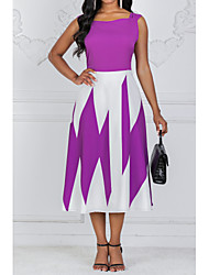 cheap -Women's Plus Size A Line Dress - Sleeveless Color Block Summer Square Neck Going out High Waist Black Blue Purple S M L XL XXL XXXL XXXXL XXXXXL