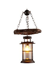 Недорогие -Промышленный деревенский люстра деревянный подвесной светильник металлический фонарь люстра фермерский дом подвесной светильник светодиодные лампы