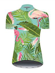 Недорогие -21Grams Цветочные ботанический Гавайи Жен. С короткими рукавами Велокофты - Черный / зеленый Велоспорт Джерси Верхняя часть Дышащий Быстровысыхающий Со светоотражающими полосками Виды спорта 100