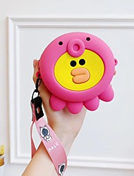 cheap -Girl Handheld One Shoulder Two-Purpose Coin Purse Portable Headphone Bag Storage Bag Cute Cartoon Silicone With Long Short Phone Strap Two