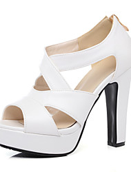 رخيصةأون -نسائي كعوب الربيع / الصيف Pumps أحذية أصبع القدم كاجوال مثيرة حلو مناسب للبس اليومي الحفلات و المساء لون سادة PU أبيض / أسود