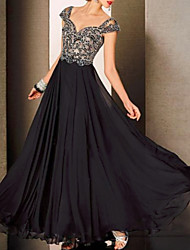 cheap -A-Line Sweetheart Neckline Floor Length Lace / Tulle Color Block Formal Evening Dress with Lace Insert 2020