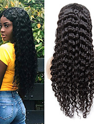 cheap -Human Hair Wig Medium Length Deep Wave Side Part Party Women Best Quality 13x6 Closure Lace Front Brazilian Hair Women's Couple's Black#1B 8 inch 10 inch 12 inch