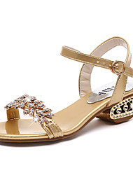 cheap -Women's Sandals Chunky Heel Open Toe Rhinestone PU(Polyurethane) Casual Summer Gold / Black / Silver