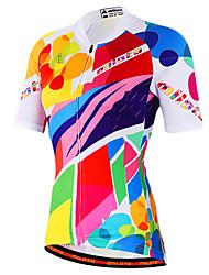 abordables -Miloto Femme Manches Courtes Maillot Velo Cyclisme Orange Jaune Lavande Rayure Grandes Tailles Cyclisme Chemise Shirt Maillot VTT Vélo tout terrain Vélo Route Respirable Séchage rapide Bandes