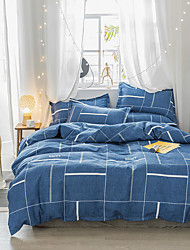 cheap -Duvet Cover Sets Plaid / Checkered / Galaxy / Color Block Natural Fiber Reactive Print / Printed / Quilted 4 PieceBedding Sets