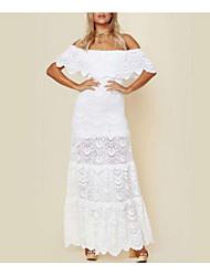 cheap -Women's Basic Sheath Dress - Solid Colored Lace Patchwork White M L XL