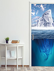 cheap -Sea Glacier Door Stickers Decorative Waterproof Door Decal Decor