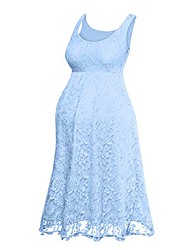 cheap -Women's Maxi Blushing Pink Blue Dress A Line Solid Colored Lace S M