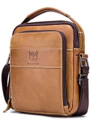 cheap -Men's Bags Cowhide Shoulder Messenger Bag Crossbody Bag Zipper Solid Color Daily Outdoor Earth Yellow Black Coffee