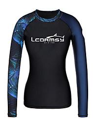 abordables -Femme Anti Irritation Tee-shirts anti-UV, tops thermiques Tee-shirt de Baignade Protection solaire UV Séchage rapide Manches Longues Natation Surf Sports aquatiques Peinture Mosaïque Automne