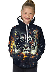 cheap -Kids Toddler Girls' Active Basic Tiger Geometric Print Color Block Print Long Sleeve Hoodie & Sweatshirt Black / Animal