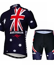 cheap -21Grams Australia National Flag Men's Short Sleeve Cycling Jersey with Shorts - Red+Blue Bike Clothing Suit Breathable Quick Dry Sports Elastane Terylene Mountain Bike MTB Road Bike Cycling Clothing
