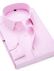 cheap -Men's Plus Size Solid Colored Slim Shirt Daily Wear White / Blushing Pink / Light Blue / Long Sleeve