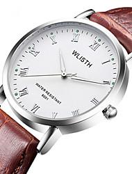 Недорогие -Муж. Нарядные часы Кварцевый Стильные Кожа Черный / Коричневый Защита от влаги Новый дизайн Фосфоресцирующий Аналоговый На каждый день - Белый Черный