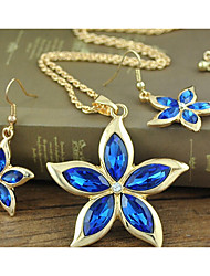 cheap -Women's Crystal Bridal Jewelry Sets Geometrical Flower Stylish Gold Plated Earrings Jewelry Blue For Party Daily 1 set
