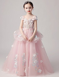 cheap -Ball Gown Floor Length Party / Pageant Flower Girl Dresses - Polyester / Tulle Short Sleeve V Neck with Tiered