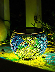 cheap -BRELONG Solar Glass Table Lamp Staycation Mosaic Lamp Waterproof Night Light Home Garden Courtyard Decoration Ideal gift (multicolor)