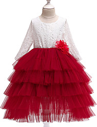 cheap -Kids Girls' Sweet Cute Patchwork Lace Layered Long Sleeve Midi Dress Red