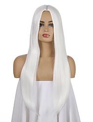 Недорогие -Парики из искусственных волос Естественный прямой Стиль Боковая часть Машинное плетение Парик Белый Искусственные волосы 26 дюймовый Жен. Аниме Регулируется Жаропрочная Белый Парик Длинные