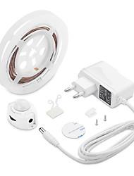 abordables -1set led strip lights activé par le mouvement étanche led cabinet lumière capteur de mouvement pir 1.5m lit lumière pour la cuisine à domicile (blanc chaud)